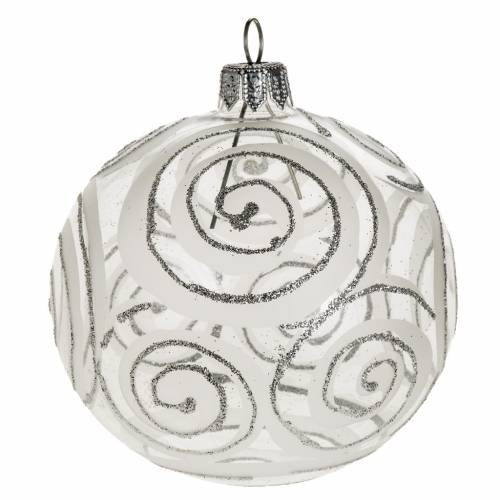 Christmas tree bauble, blown glass silver decorations 8cm s1
