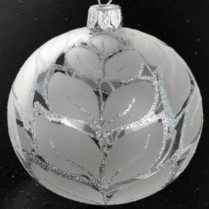 Christmas tree bauble glass silver leaves, 8cm s2