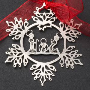 Christmas tree decoration in 800 silver, nativity and star s2