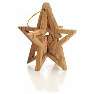 Christmas tree ornaments in wood and pvc: Christmas tree decoration in Holy Land olive wood star with Wise