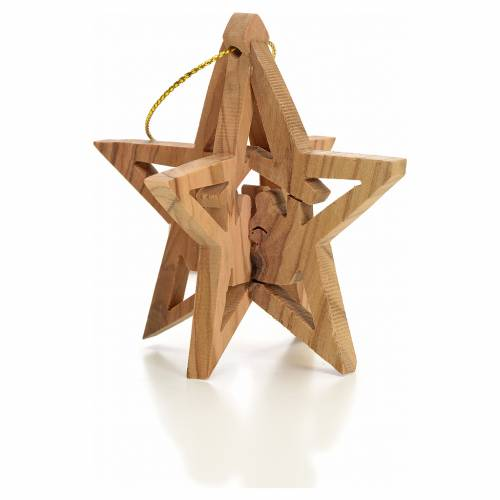 Christmas tree decoration in Holy Land olive wood star with Wise s1