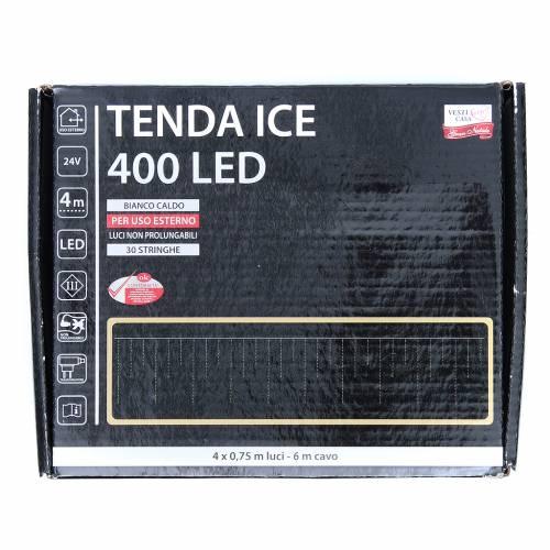 Éclairage Noël rideau ICE 400 leds blanc chaud EXTÉRIEUR s3