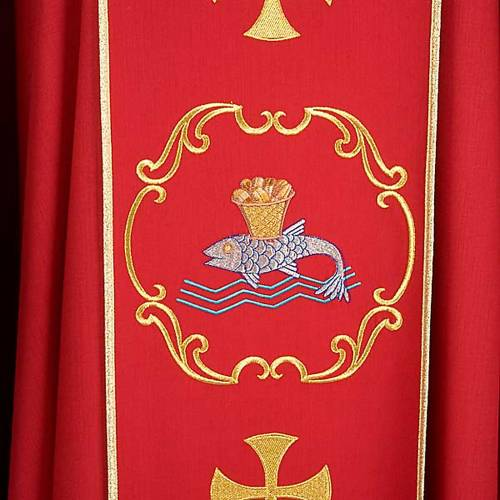 Clergy chasuble in 100% wool, boat & fish and chalice s5