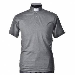 Clergy polo shirt short sleeves light grey lisle thread s1