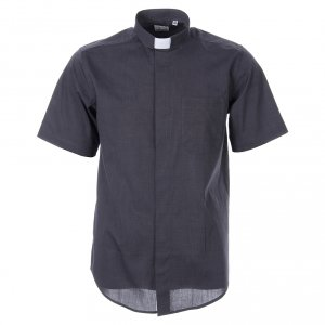 Clergy Shirts: STOCK Clergy shirt in dark grey fil-a-fil cotton, short sleeves