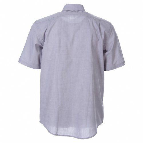 STOCK Clergy shirt in light grey fil-a-fil cotton, short sleeves s2