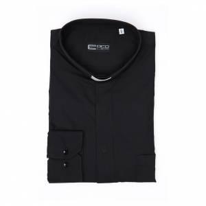 Clergy shirt Long sleeves easy-iron mixed herringbone cotton Black s4