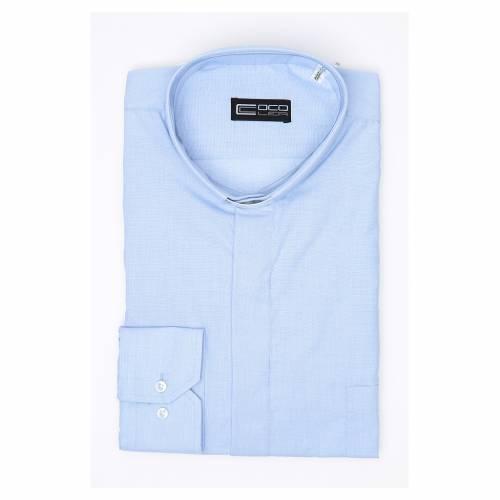 Clergy shirt long sleeves fil-à-fil mixed cotton Light Blue s3