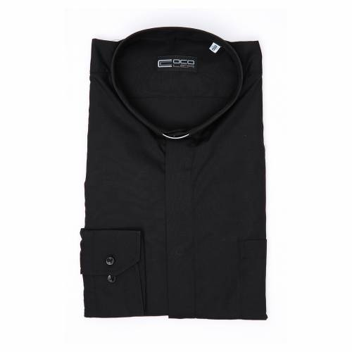 Clergy shirt long sleeves solid colour mixed cotton Black s3