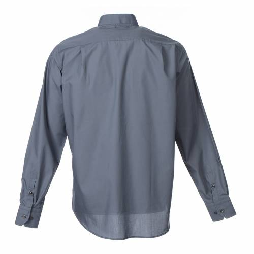 Clergy shirt long sleeves solid colour mixed cotton Dark Grey s2