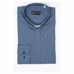 Clergy shirt long sleeves solid colour mixed cotton Jeans s3