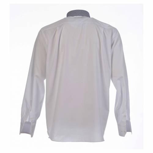Clergy shirt white contrast crosses long sleeve s2