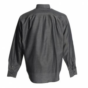Clergy Shirts: Clergyman shirt in grey polyester cotton