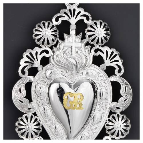 Coeur Votif flamme croix 13x20 cm s2