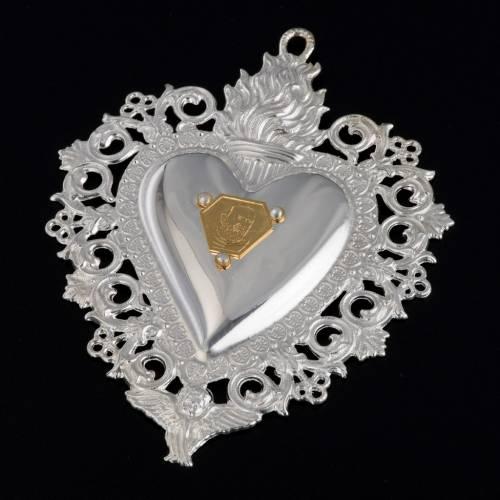 coeur votif Padre Pio 9.5x7.5 cm s2