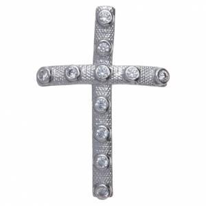 Colgantes, cruces y broches: Colgante cruz Plata con circones blancos 4 x 2,5 cm