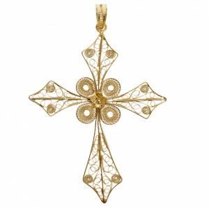 Colgantes, cruces y broches: Colgante de cruz en filigrana de plata 800 y baño de oro