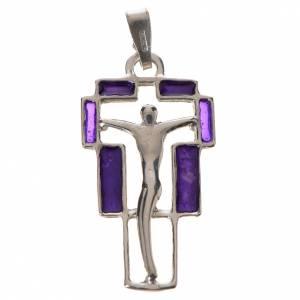 Colgante de cruz, en plata y esmalte morado s1