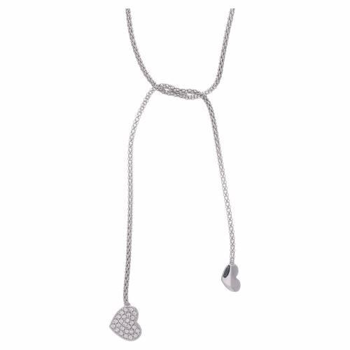 Collana AMEN modello abbraccio argento 925 cuori e zirconi bianchi s1