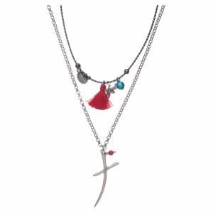 Collana catena con croce stilizzata e nappina rossa s1