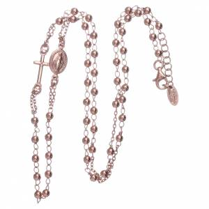 Collana rosario girocollo AMEN argento 925 fin. Rosè s3