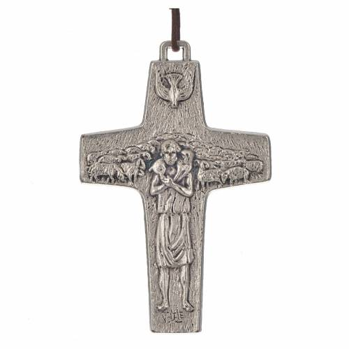 Collar Cruz Papa Francisco metal 8x5cm s1
