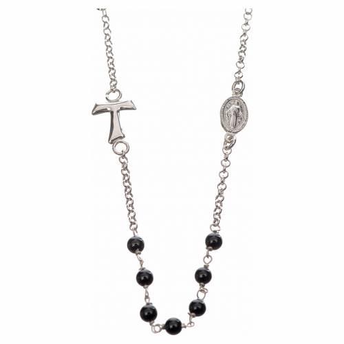Collar MATER plata 925 perlas negras tau y medalla s1
