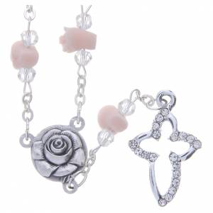 Rosarios y Porta Rosarios Medjugorje: Collar rosario Medjugorje cuentas cristal rosas cerámica
