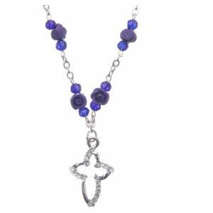 Rosarios y Porta Rosarios Medjugorje: Collar rosario Medjugorje rosas cerámica cuentas cristal morado