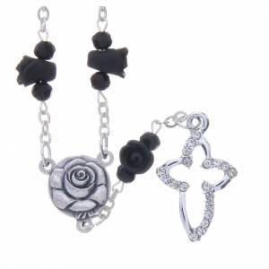 Rosarios y Porta Rosarios Medjugorje: Collar rosario Medjugorje rosas negras cerámica cuentas cristal