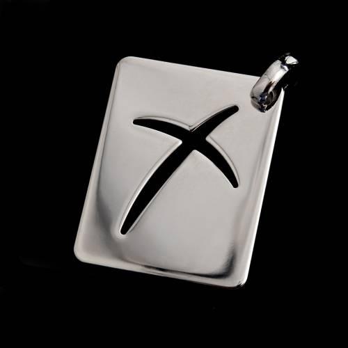 Collier avec plaque croix argent 925 s2