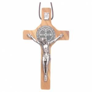 Collier Croix de St. Benoît en bois d'olivier s1