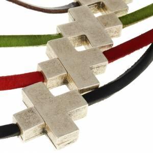 Pendentifs croix métal: Collier croix métal cuir Medjugorje