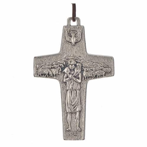 Collier croix Pape François 8x5 cm s1