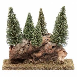 Muschio, licheni, piante, pavimentazioni: Collina con bosco di pini 20x20x5 cm