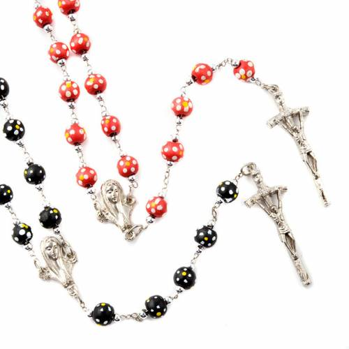 Coloured flowers wood rosary s1