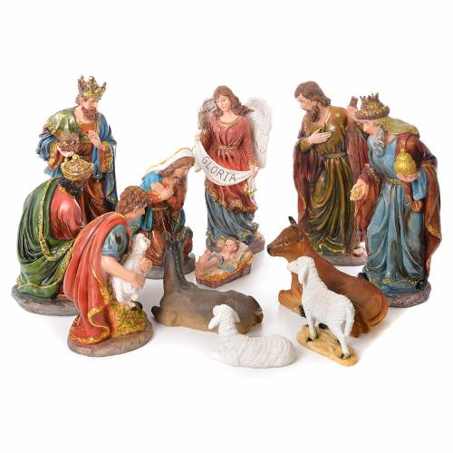 Complete nativity set in resin, 12 figurines 45cm s1