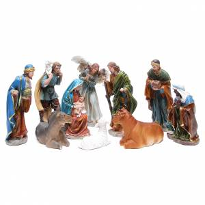 Resin and Fabric nativity scene sets: Complete nativity set in resin measuring 24, 10 characters