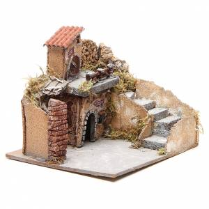 Composition of houses in cork and wood, Neapolitan Nativity, 20x23x20cm s3
