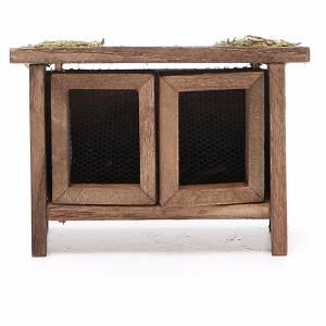 Animales para el pesebre: Conejera de madera para belén h. 6x7x3 cm