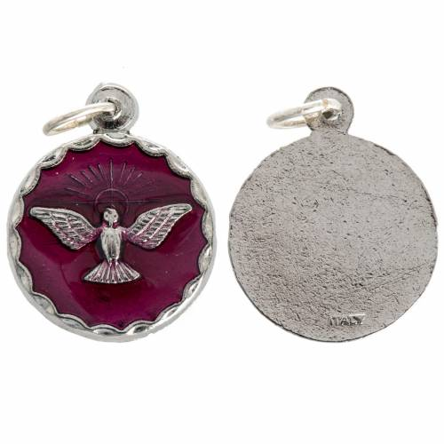 Confirmation medal, red enamel and Holy Spirit 18mm s1
