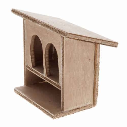 STOCK Conigliera doppia presepe in legno 8-10 cm s2