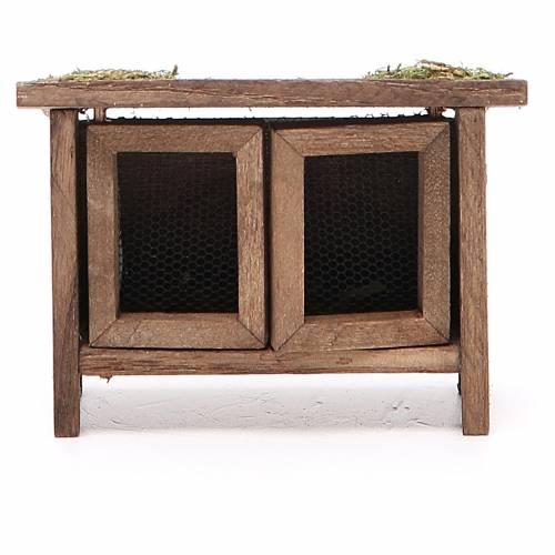 Conigliera in legno per presepe h. 6x7x3 cm s1