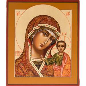 Ícono ortodoxa Virgen de Kazan pintada Rusia s1