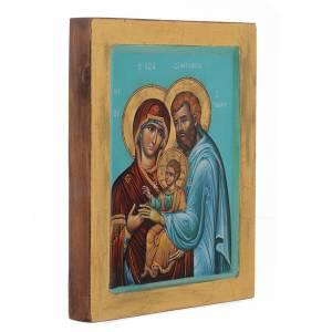 Íconos Pintados Grecia: Ícono Sagrada Familia fondo verde