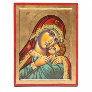 Íconos Pintados Grecia: Ícono Virgen de Kasperov fondo oro