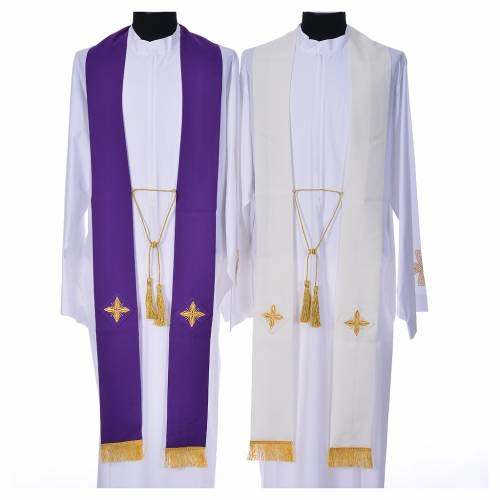 Cope in polyester with 6 crosses embroidery s12