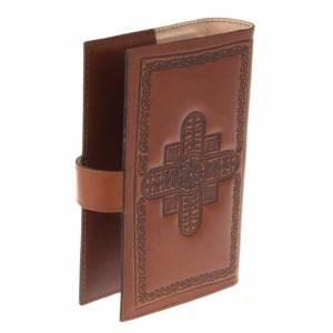 Custodie lit. ore 4 vol.: Copri liturgia 4 vol. vera pelle croci decorate