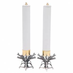 Candelieri metallo: Coppia candelieri peltro argentato con candela
