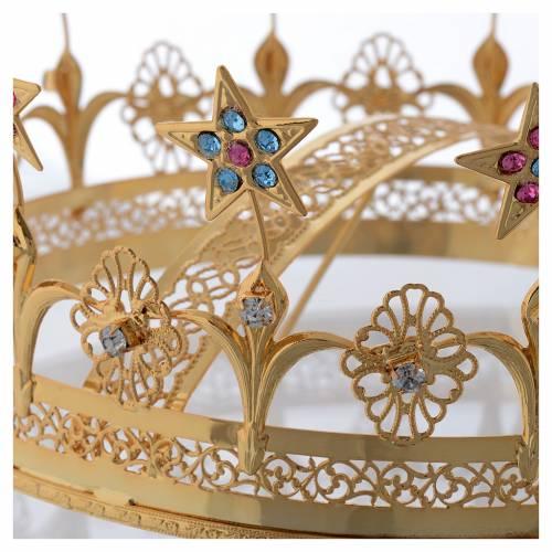 Corona Virgen latón dorado y filigrana s3
